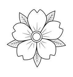 Cherry flower with leaves old school classic vector