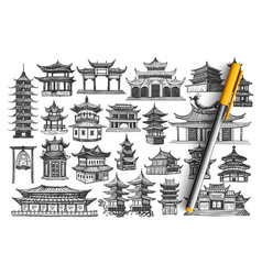 China buildings hand drawn doodle set vector