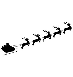 christmas reindeers are carrying santa claus in a vector image