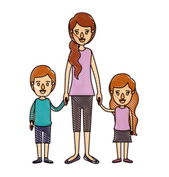 color crayon stripe cartoon full body mother taken vector image