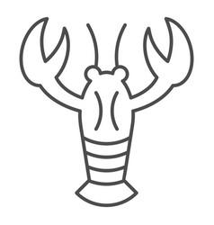 Crayfish thin line icon crustacean vector