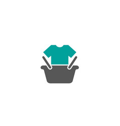 creative basket cart shop tshirt logo design vector image