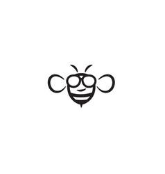 Creative bee geek logo symbol design vector