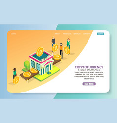 Cryptocurrency stock exchange landing page website vector