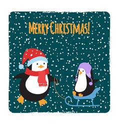 cute cartoon family penguins christmas cards vector image
