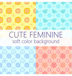 cute feminine soft color background pattern set vector image