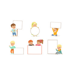 cute kids holding blank banners collection happy vector image