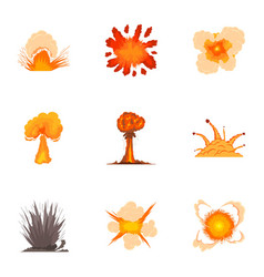different explosion icons set cartoon style vector image