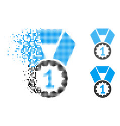 dust pixel halftone first place medal icon vector image