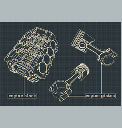 Engine block blueprints vector