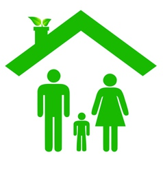 Family in ecologic house vector