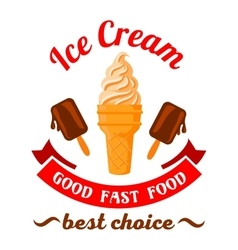 Fast food desserts cartoon symbol with ice cream vector