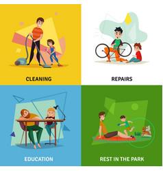 fatherhood concept icons set vector image