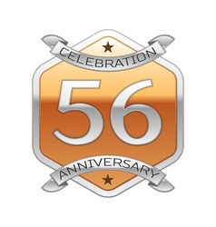 Fifty six years anniversary celebration silver vector