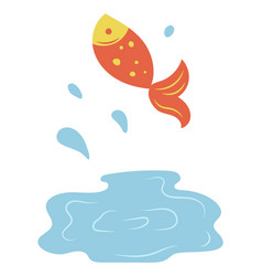 fish jumping out lake isolated cartoon style vector image