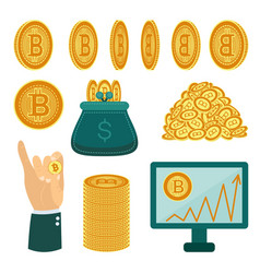 flat bitcoin symbols golden coins set vector image