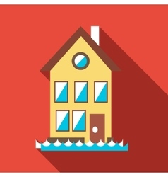 Flood house icon flat style vector