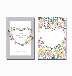 Flower wreath invitation template with si vector
