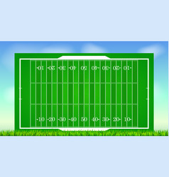 football field with grass on blue backdrop of sky vector image