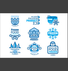 frozen food product set of logo templates hand vector image
