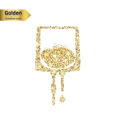 Gold glitter icon of iv drip isolated on vector