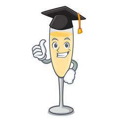 Graduation champagne character cartoon style vector