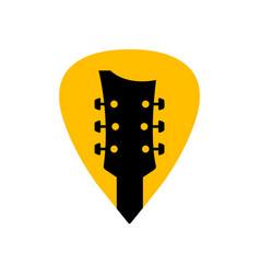 guitar acoustick pick design icon flat logo vector image