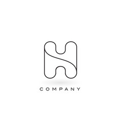H monogram letter logo with thin black monogram vector