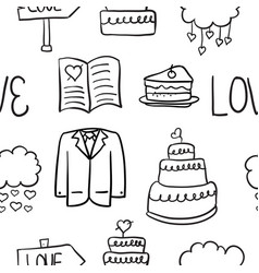 Hand draw wedding element doodles vector