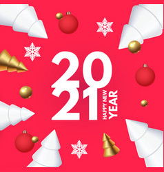 Happy new 2021 year design template with 3d vector