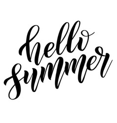 Hello summer black isolated cursive vector