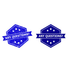 Hexagonal any questions question stamp seal vector