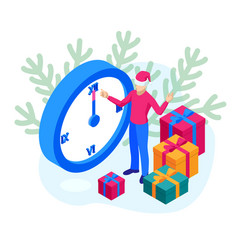 isometric man in a christmas hat with gifts on the vector image