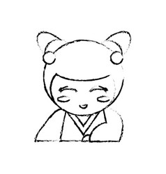 japanese doll geisha folk sketch vector image