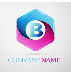 Letter B logo symbol in the colorful hexagonal on vector image