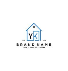 Letter yk home logo design concept vector