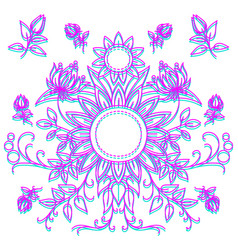 linear pattern of flowers floral ornament vector image