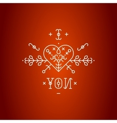 Love card with line romantic elements vector