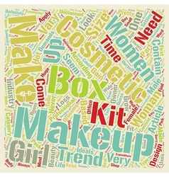 Makeup Boxes text background wordcloud concept vector image