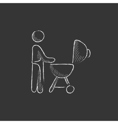 Man at barbecue grill Drawn in chalk icon vector