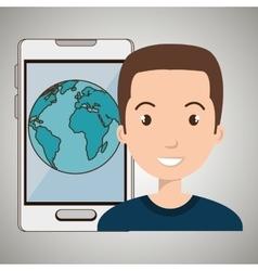 man smartphone world isolated icon design vector image