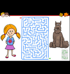 maze game with girl and her pet dog vector image