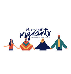 Migrants day banner of diverse people group vector