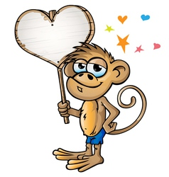 Monkey in love vector