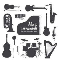 Music instruments silhouettes collection vector
