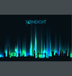 neon london skyline detailed silhouette vector image