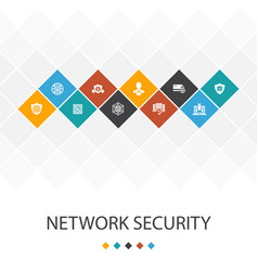 Network security trendy ui template infographics vector