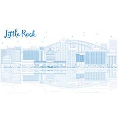 Outline Little Rock skyline with blue buildings vector