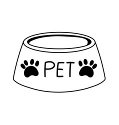 Pet bowl food cartoon isolated white background vector