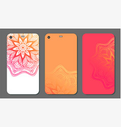 Phone case mandala design set vintage decorative vector